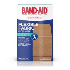 Band-Aid® Brand Flexible Fabric Adhesive Bandages for Minor Wound Care, Extra Large, 10 Count, Multi Natural Rubber Latex, All Band, Wound Care, Pad Design, Johnson And Johnson, Wound Healing, Band Aid, First Aid Kit