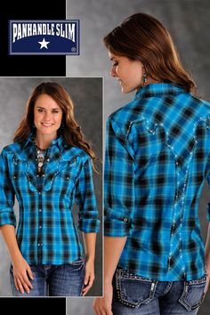 womens blue plaid shirts | Women's Panhandle Slim Blue Without My Baby Plaid Western Shirt