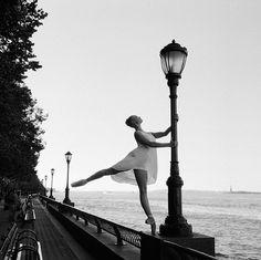 Ballerina street photography lamp post river