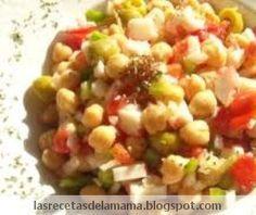 Las recetas de la mamá te recomienda que pruebes esta ensalada tan original como es la ensalada de garbanzos. Esta ensalada de garbanzos es ideal para comer o para cenar, acompañado de un trocito de pan tostado.