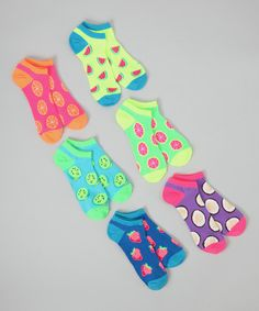 """For the love of crazy socks... my kiddo refuses to wear """"plain"""" ones anymore. Neon Green & Orange Fruity No-Show Sock Set by K. Bell Socks $6.99"""