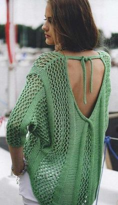 Free Knitting Patterns - Pullover with Lattice Pattern Summer Knitting, Fair Isle Knitting, Punto Red Crochet, Crochet Blouse, Knit Crochet, Quick Knits, Knitwear Fashion, Cardigan Pattern, Sweater Shop