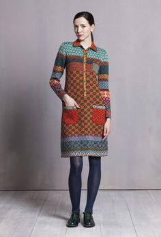 Shirt Dress, Geometric Pattern - Dress | Ivko Woman