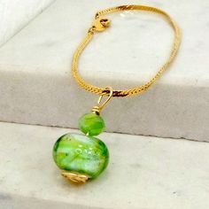 Chain bracelet lampwork bead spring green crystal size 7.2 handmade Pat2 by BobsFlameBeads on Etsy