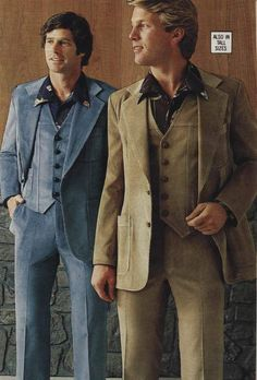 I don't believe the 70s were a very good time for men's fashion. These are all matching suits i am unsure what the material is