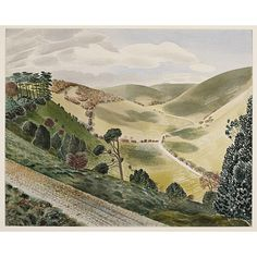 """The Causeway, Wiltshire Downs"" by Eric Ravilious, 1937.  (Image: Persephone Post.)"