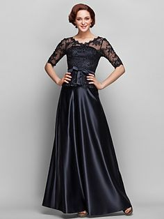 A-line QW-neck Floor-length Satin And Lace Mother of Bride Dress (682755) | LightInTheBox