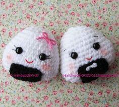 HandmadeKitty: FREE Onigiri Couple Amigurumi Crochet pattern by HandmadeKitty