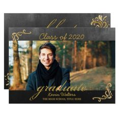 Vintage Black Gold Handwriting Graduation Photo Card - invitations custom unique diy personalize occasions