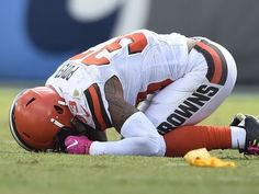 Browns vs. Titans:      October 16, 2016  -  28-26, Titans  -      Browns free safety Jordan Poyer (33)] is down after a hit by Titans running back Antonio Andrews (26) in the second quarter at Nissan Stadium Sunday, Oct. 16, 2016, in Nashville, Tenn. He was taken off the field after the play.  George Walker IV / The Tennessean