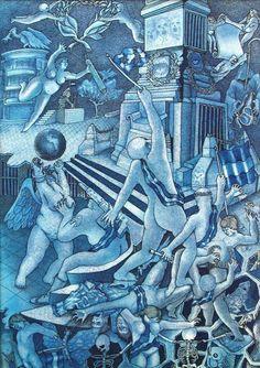 """Dagoberto NOLASCO : de la serie """"Los Patriotas"""" ; 1988 ; tinta sobre papel ; colección MDAA (adquirido en 1988 del artista)"""