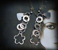 silver earrings/ stud dangle earrings/ charm by JewelryByFlorita
