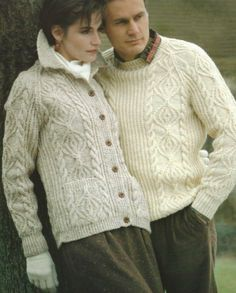 "Ladies AND Mens Knitting Pattern Aran Sweater AND Cardigan 32 48"" 537 