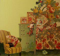 """""""Des fleurs sur le mur"""" by Marie Felba : Acrylique et collage sur toile de 40x40cm."""