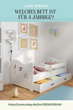 Unser Bett ist ideal für ein Kind 🧒👧 ab 4 Jahren. Es schützt Kleinkinder vor dem Rausfallen! Das Bett steht Ihnen in vielen Farbkombinationen zur Auswahl. Das Kinderbett wurde aus natürlichem Kiefernholz und hochwertigen MDF-Platte gefertigt,    #Bett #Jugendbett #Kinderbett #Babybett #BettmitBettkasten Modern, Toddler Bed, Furniture, Home Decor, Bed Frame, Color Combinations, Child Bed, Trendy Tree, Decoration Home