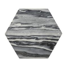 schneidebrett aus marmor und zugleich edle vorlegeplatte für fingerfood, jause, häppchen. hexagonal, grau meliert, von bloomingville