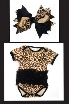 Leopard baby onesie & bow. #southernrootsboutique