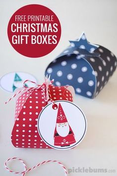 Free printable Christmas gift boxes. Just print and fold these cute little boxes and add the bonus Santa tags!