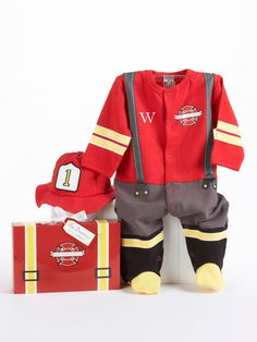 "Baby Firefighter Two-Piece Layette Set in ""Firefighter-themed"" Gift Box by Baby Aspen on Gilt.com"