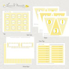 lemonade free printables. Banner, straw/topper flags, place cards, labels, and accent paper.