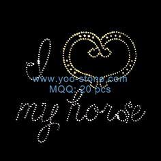 i Love My Horse Hot Fix Rhinestone Transfers For Tshirt