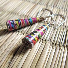 colorful Paper Bead earrings