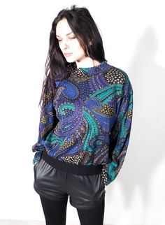 Vintage 80's All Ornamented Paisley blue Cyan Long Sleeve by Ramaci