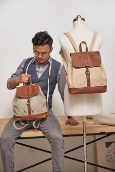 5994a69a8b Handmade Leather Canvas Backpack