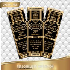 Great Gatsby Invitation Ticket , Birthday Invitation, Prom Invitation, Glitter Gold, 1920's wedding, Personalized Black and Gold Invitation