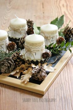 Shabby soul: My Advent Candles Centerpiece - Natale al Verde