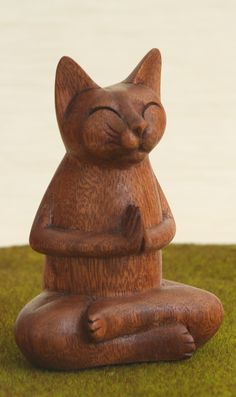 Hand Carved Wooden Buddha Cat Statue