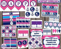 70 OFF Ahoy Birthday girl package Instant by EasyPartyPrintables,