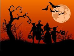 Stock vector of 'Halloween background with silhouettes of children trick or treating in Halloween costume'