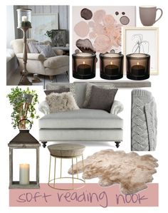 """Soft reading nook."" by babett-beattie on Polyvore featuring interior, interiors, interior design, Zuhause, home decor, interior decorating, Oliver Gal Artist Co., Lyon Béton, Massoud und UGG Australia"
