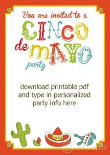 Free printable Cinco de mayo invitations, table toppers, & place cards. #cincodemayo
