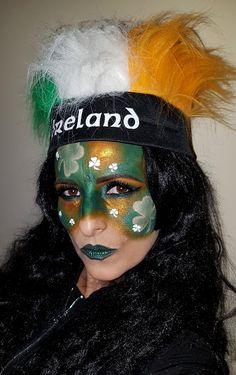 shamrock green eyes & lips st.Patrick Day face painting makeup idea