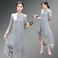 S-XXL Gray Linen Silk Dress 2016 Fashion Summer New Retro O Neck Irregular Printed Silk Dress N046
