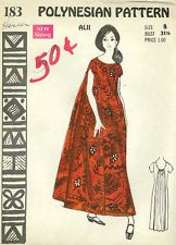 CLASSIC VINTAGE Polynesian Sewing Pattern 183 Hawaiian MuuMuu Dress Size 8 UNCUT
