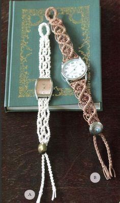 DIY Macrame Watch Bands, would also make a pretty bracelet.