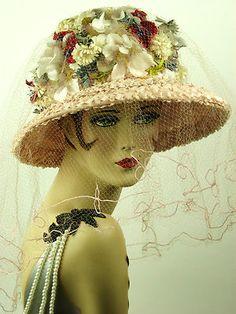 Vintage Hat 1960s Pale Pink Straw Floral Bubble Brim w Long Full Veil Stunning | eBay