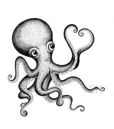 Valentine Octopus by Eugenia Hauss Design on @creativemarket