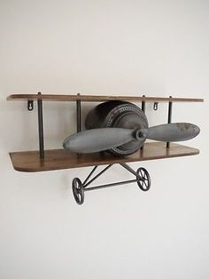 Wall Mounted Vintage Metal Wood Floating AEROPLANE SHELF Shelving Storage DECOR in Home, Furniture & DIY, Storage Solutions, Wall Hooks & Door Hangers | eBay