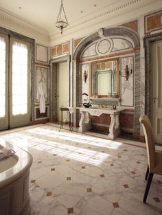Belle Époque-style full marble bathroom in La Mansión Presidential Suite, @Four Seasons Hotel Buenos Aires