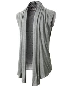 3f8dc4f83e H2H Men s Shawl Collar Sleeveless Cardigan With No Button LIGHTGRAY US 2XL Asia  3XL (