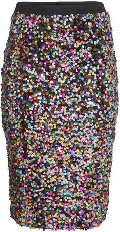 H Amp M Multi Colors Pencil Sequin Skirt Fashion365
