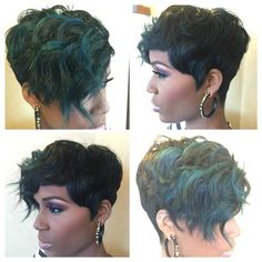 Love the color in this cut by @jamaledmonds | #thecutlife #shorthair but I'd do purple