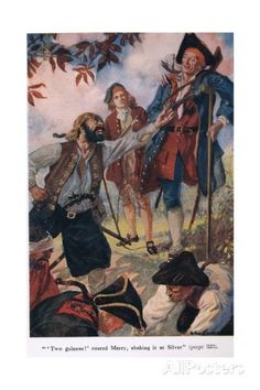 """""""Two Guineas"""" Shouted Merry, Shaking it at Silver, Illustration from 'Treasure Island' by Robert… Giclee Print by John Cameron at AllPosters.com"""