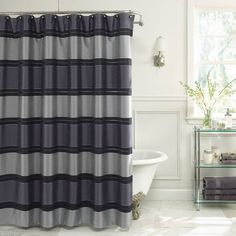 product image for Jardin Stripe Fabric Shower Curtain in Navy