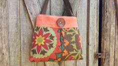 Handbag Purse Tote In Spice Orange Linen and Florals from DandelionHoney for $58.00