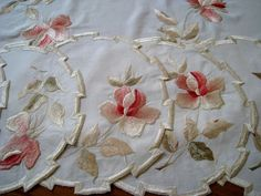 silk society embroideries | Society Silk Embroidery Center Tablecloth & Placemats c.1920